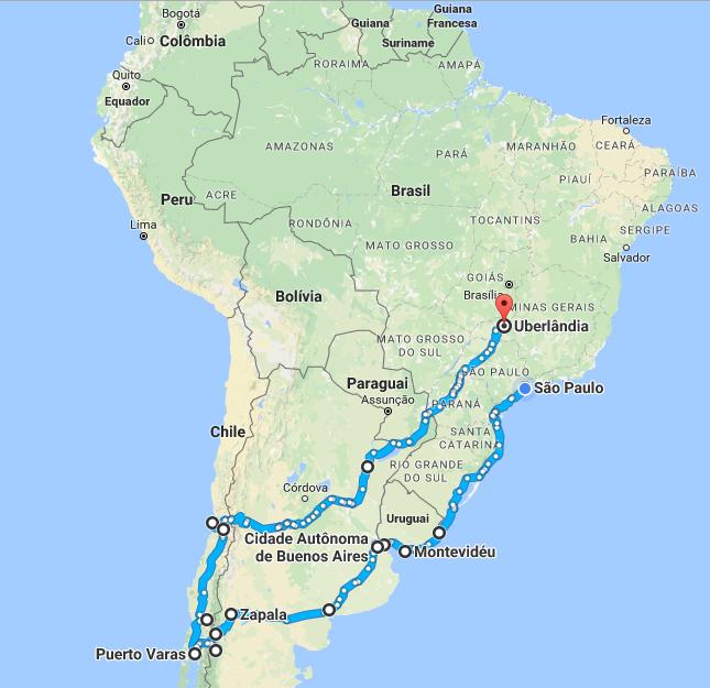 Viagem America do Sul Chile Argentina Uruguai Brasil